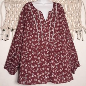 Dia&Co Marybelle maroon white floral top
